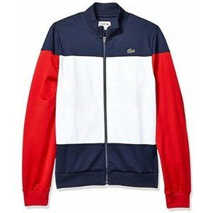 LACOSTE colorblock full zip track jacket red white